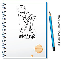 A notebook with a drawing of a boy skiing