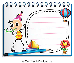 A notebook with a drawing of a boy with a party hat