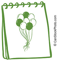 A notebook with a drawing of balloons at the cover page