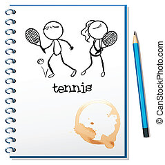 A notebook with a sketch of a boy and a girl playing tennis