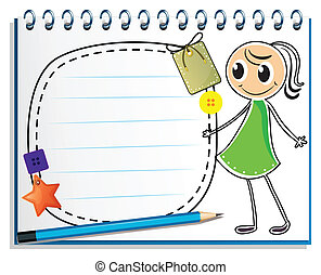 Illustration of a notebook with a sketch of a girl with a green dress on a white background
