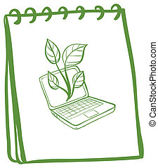 A notebook with a sketch of a laptop at the cover page