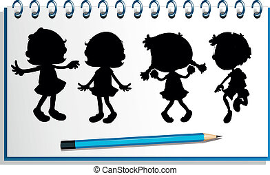 A notebook with kids at the cover page