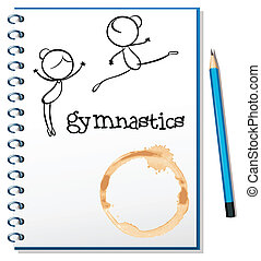A notebook with two gymnasts at the cover page