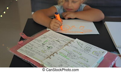 A notepad of a home tutor or a mother who is practicing homeschooling of her kids. Homeschooling concept.