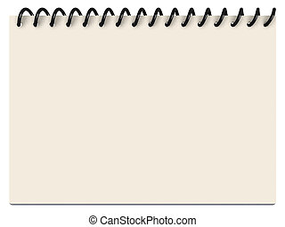 A Notepad with spiraled white and yellowish paper