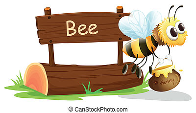 A notice board and a honey bee