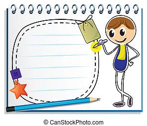 a, notizbuch, mit, ein, bild, von, a, junge, schreibende