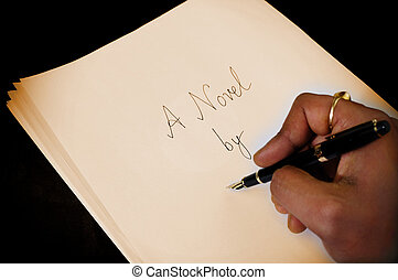 A novel - A writer signing his name on the cover page of his...