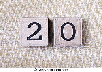 number 20 wooden cubes