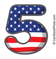 A number five with USA symbols
