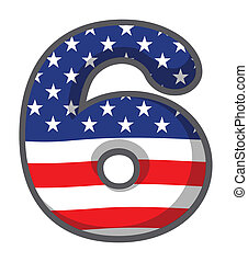 A number six with USA symbols
