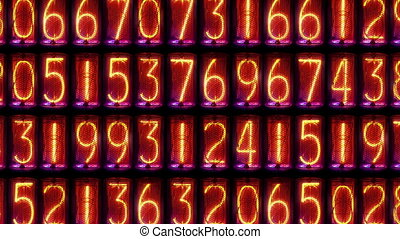 a numerical counter and number sequence filmed with an old nixie tube clock