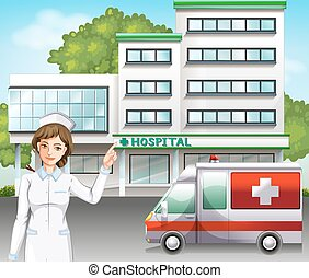 A nurse in front of the hospital