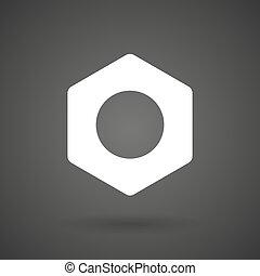 a nut white icon on a dark background