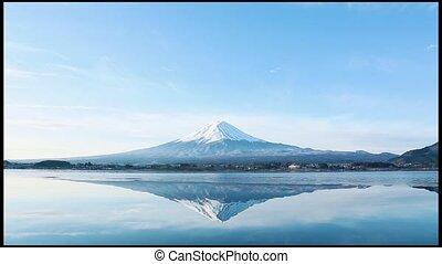 a nverted image of Mt. Fuji
