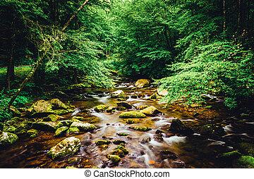 a, oconaluftee, rio, em, grandes montanhas esfumaçadas...