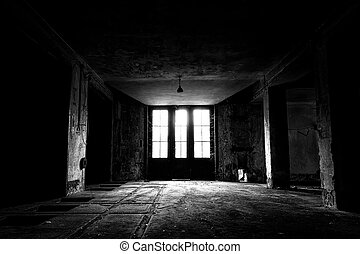 A old abandoned industrial building interior, low light