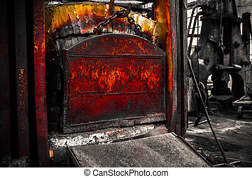 a old furnace in an iron workshop