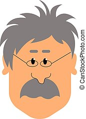 A old man, vector or color illustration.