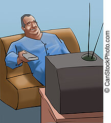 A old man watching tv with the remote control in his hand