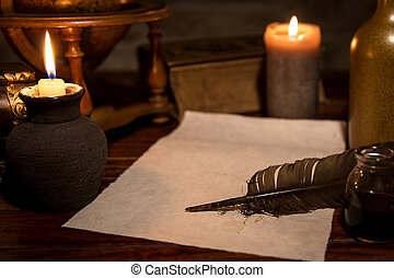 old parchment paper with a quill and ink, medieval theme