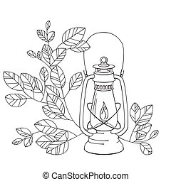 A Old petrol lamp with white background