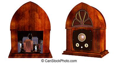 vintage radio - a old vintage radio - isolated on white