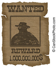 A old wanted poster with a cowboy silhouette