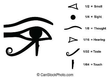 a, olho, de, horus