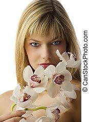 a, olhos, e, orquídea
