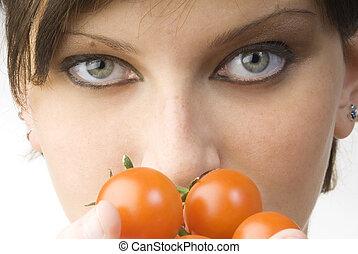 a, olhos, e, tomate