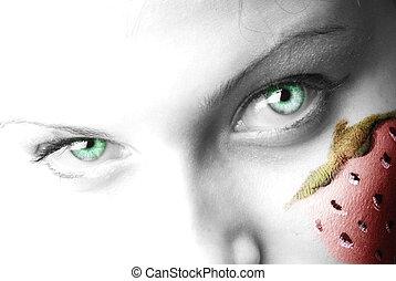 a, olhos verdes, e, moranguinho