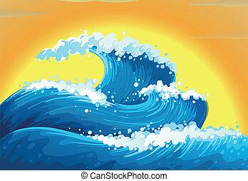 a, ondas, e, a, sol