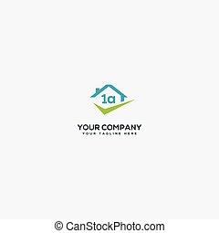 a one 1 logo design, simple check list A one logo home