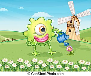 A one-eyed monster watering the plant at the hilltop -...