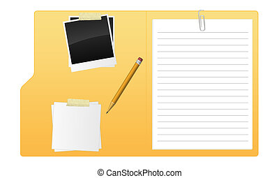 A open folder with paper, pencil and photo