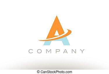 A orange blue logo icon alphabet design