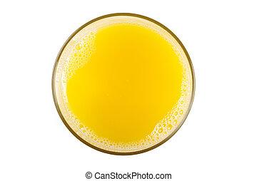 a, orange juice glas