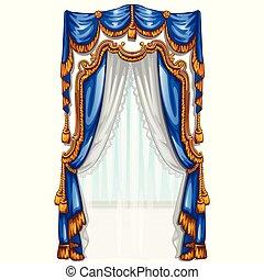 a, ornate, cortina, em, a, interior., vetorial, illustration.