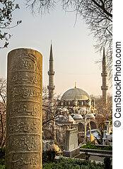 a, ottoman, gravsten, och, eyup, sultan, moské, hos, eyup,...