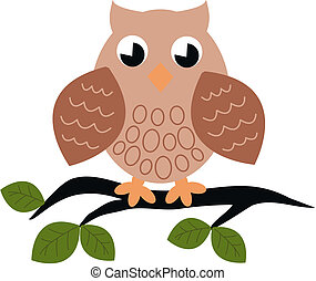 a owl sitting on a branch - illustration of a cute owl ...