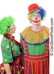 a, paar, von, ernst, clowns