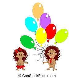 a, paar, von, lustiges, igel, mit, viele, farbenprächtige luftballons