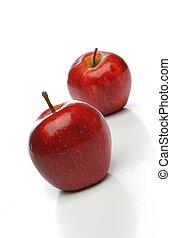 a, paar, von, rote äpfel