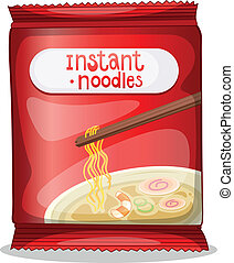 A pack of an instant noodles - Illustration of a pack of an...