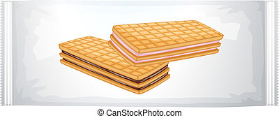 lustration of a pack of cream biscuits on a white background