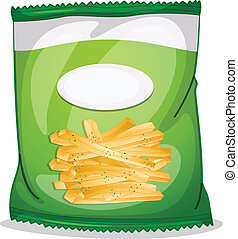 Illustration of a pack of crispy french fries on a white background