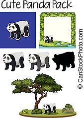 A pack of cute panda