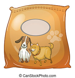 A pack of dogfoods with an empty label - Illustration of a...